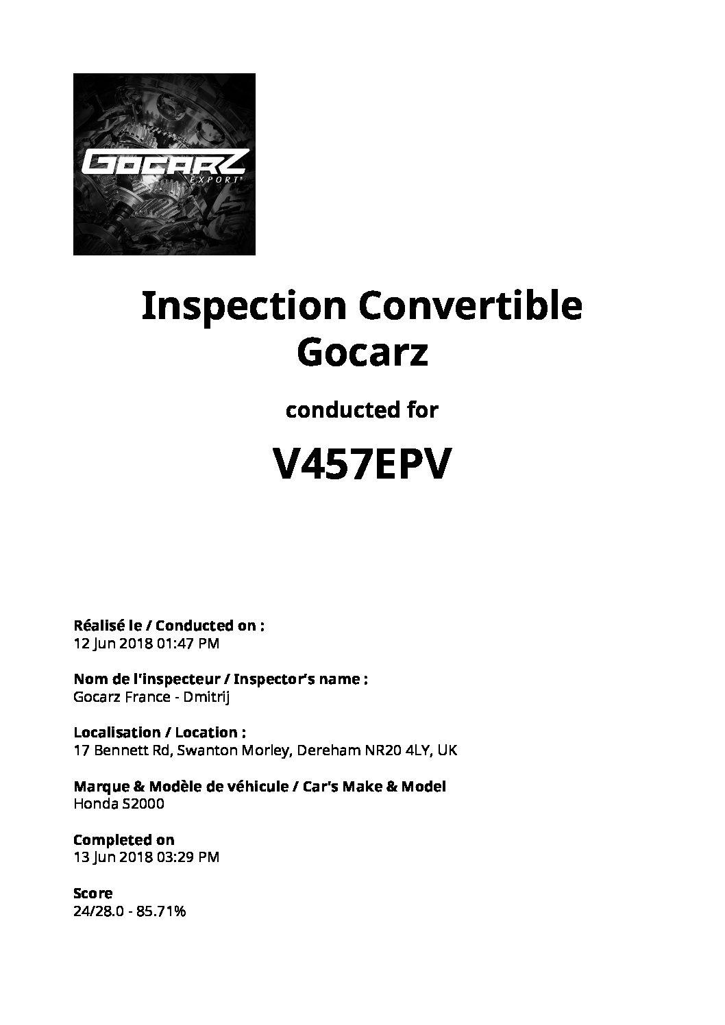 Inspection Gocarz - Honda S2000 - 2018.06.12