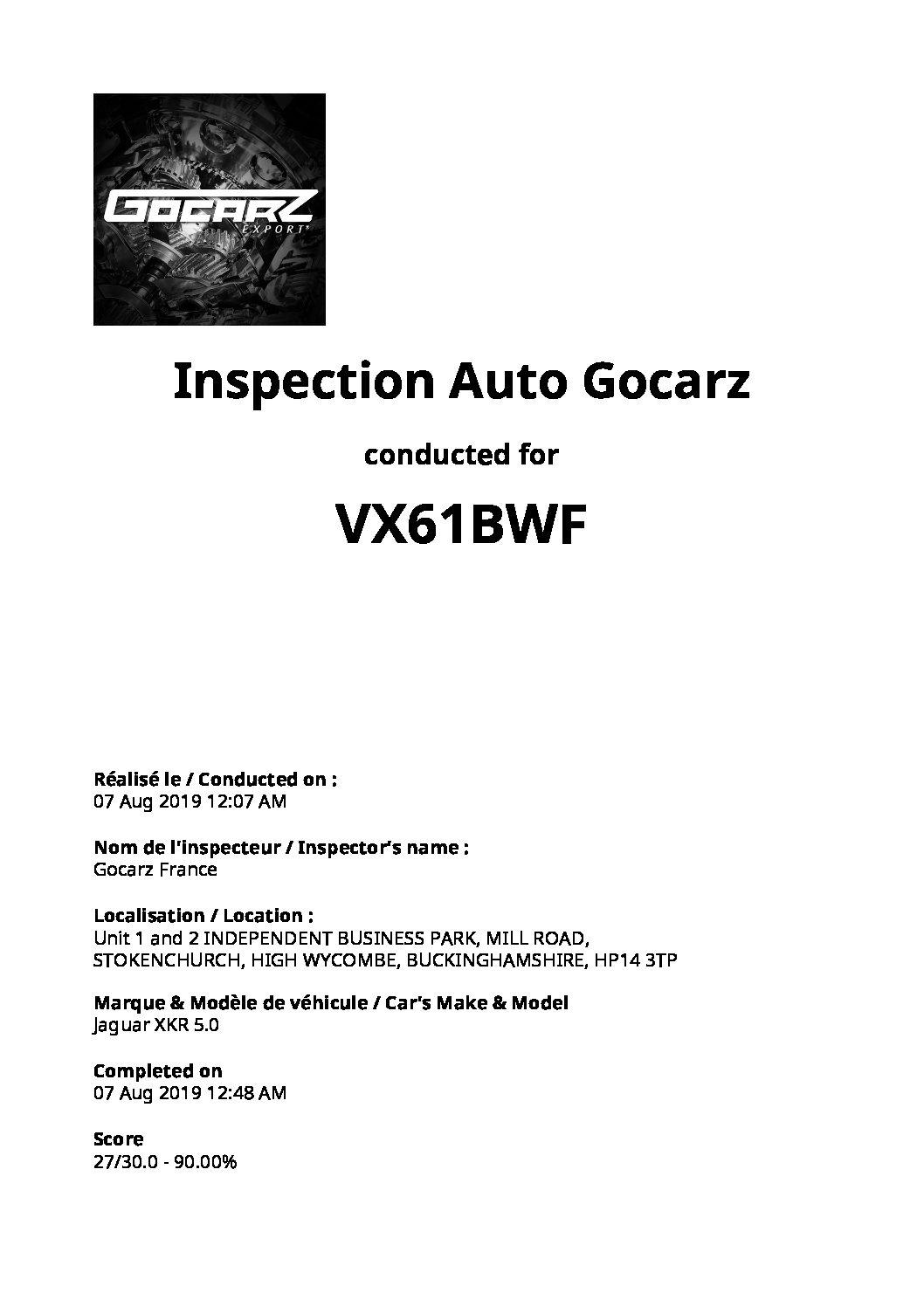 Inspection Gocarz - Jaguar XKR - 2019.08.07