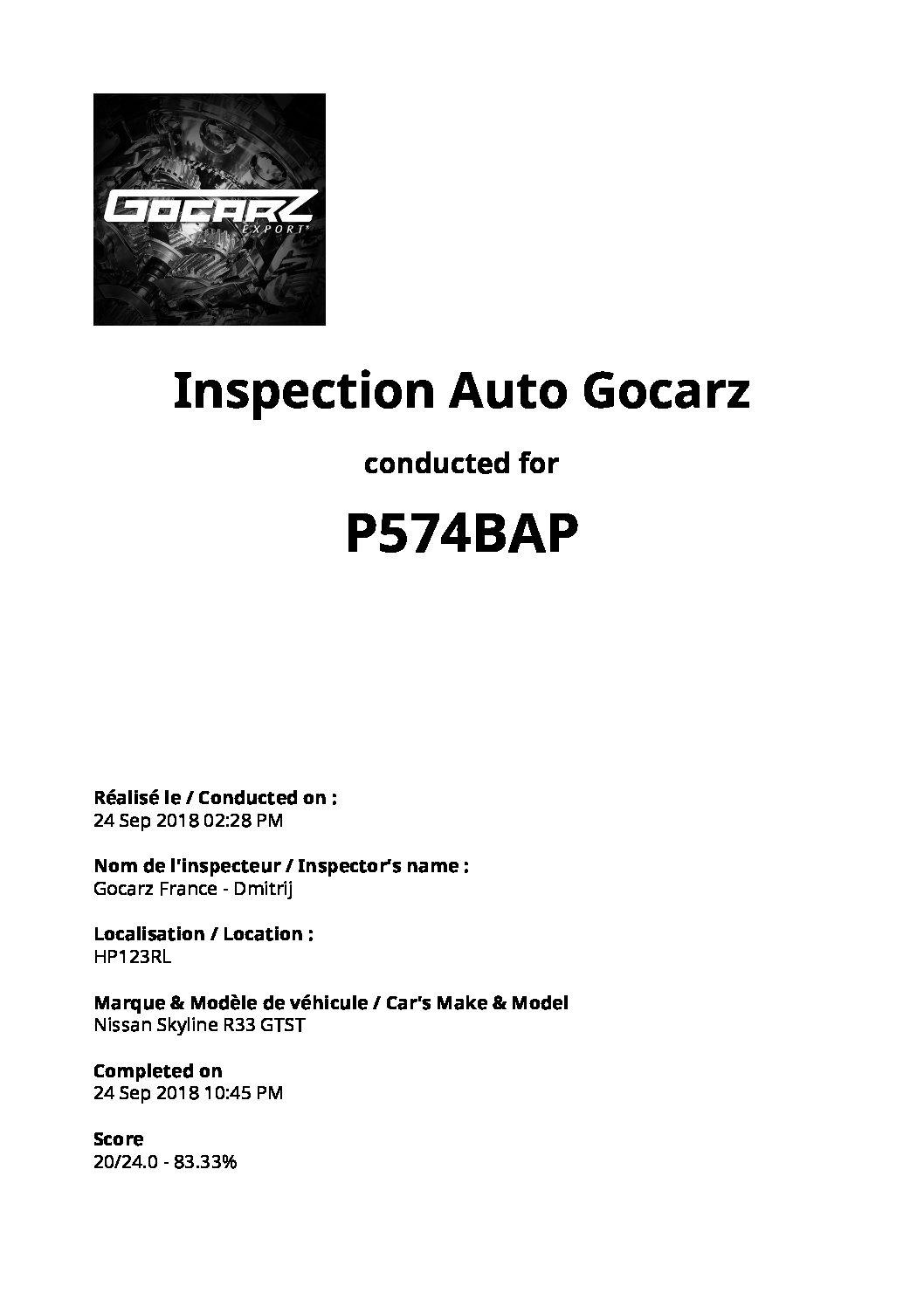 Inspection Gocarz - Nissan Skyline R33 - 2018.09.24