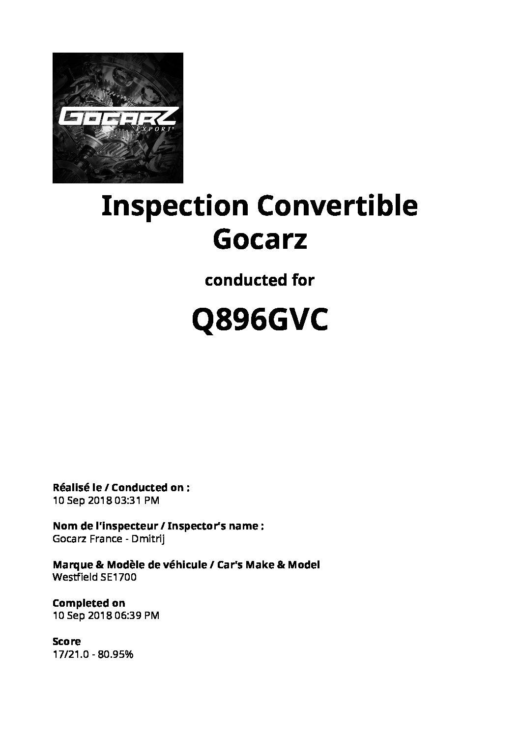 Inspection Gocarz - Westfield 1700 - 2018.09.10